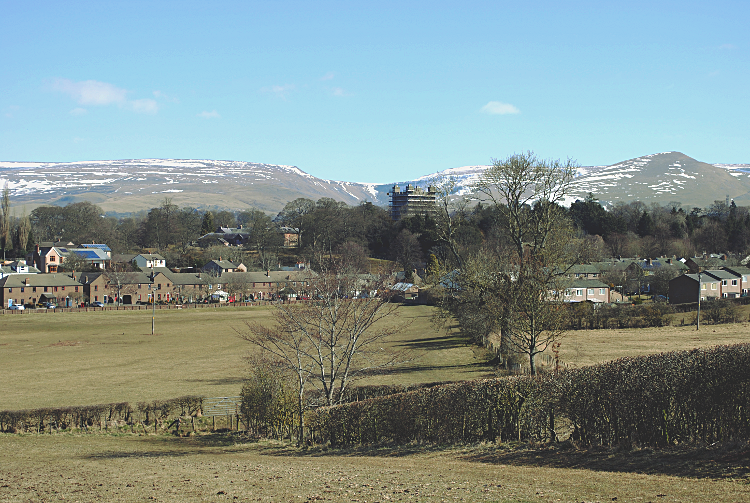 Looking over Appleby Castle to High Cup and Murton Pike
