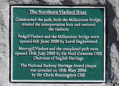 Plaque at Stenkrith Falls Kirkby Stephen