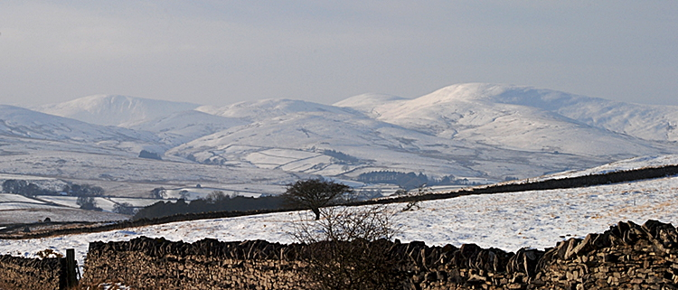 Cumbria - Snowy Howgills seen from the A683 near Kirkby Stephen